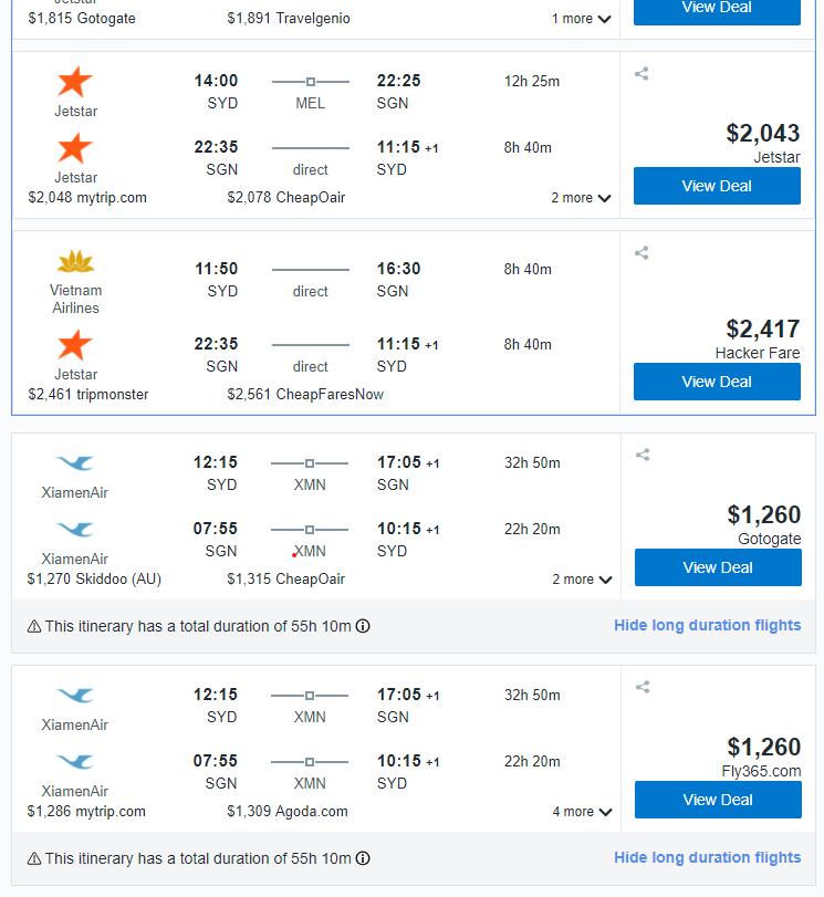 A screenshot of Booking.com flight booking webpage.