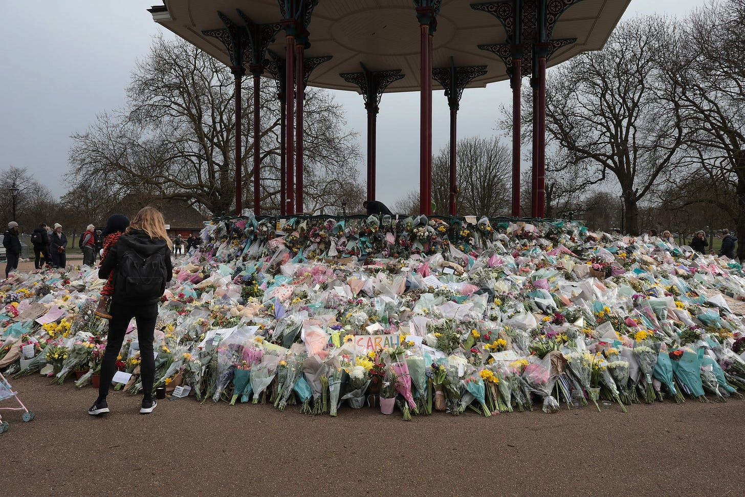 Flowers and tributes to Sarah Everard in Clapham Common. Photo by Guardian photographer Martin Godwin.