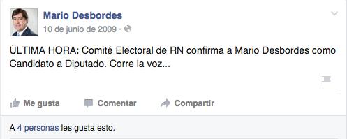 Primer mensaje en Facebook de Mario Desbordes