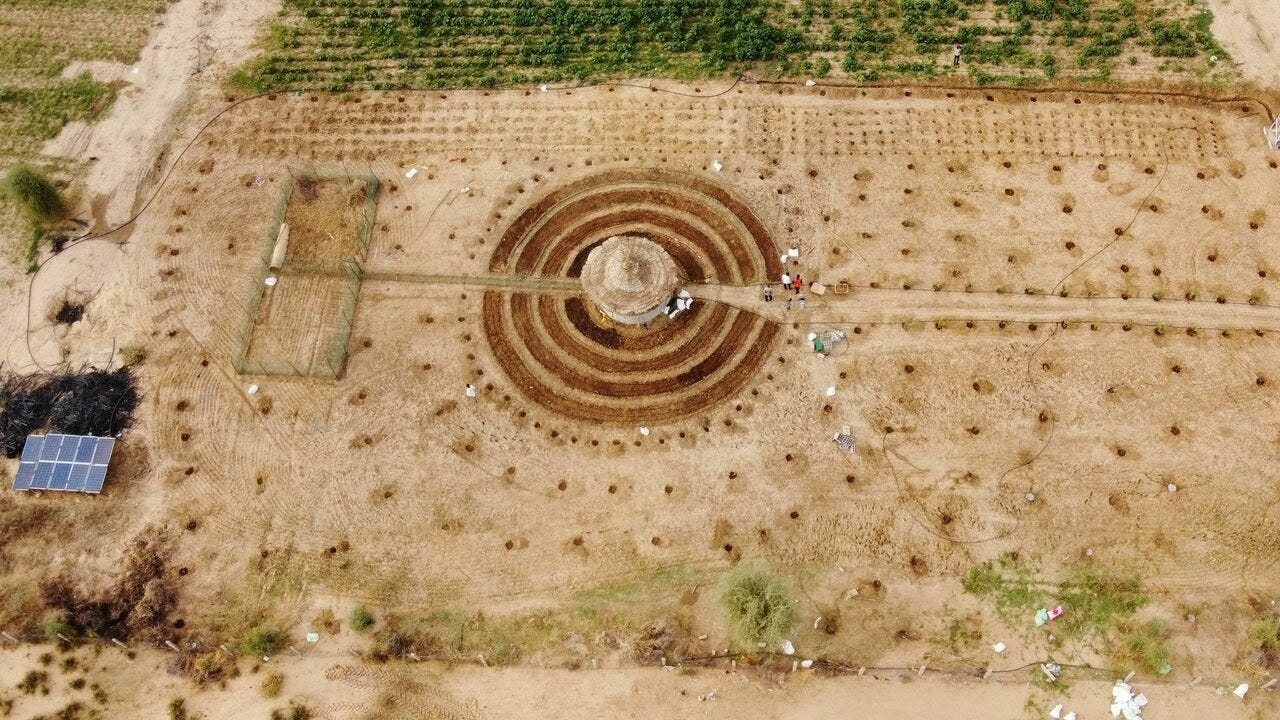An aerial view of a newly built <em>tolou keur</em> garden in Boki Diawe, within the Great Green Wall area, in Matam region, Senegal.
