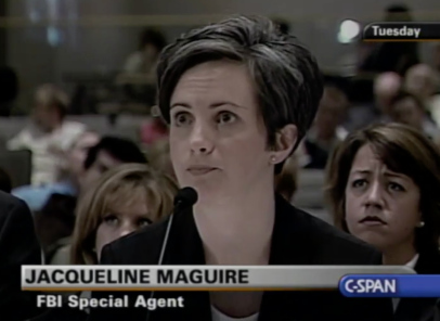 A screen capture from C-SPAN shows Maguire leaning toward a microphone