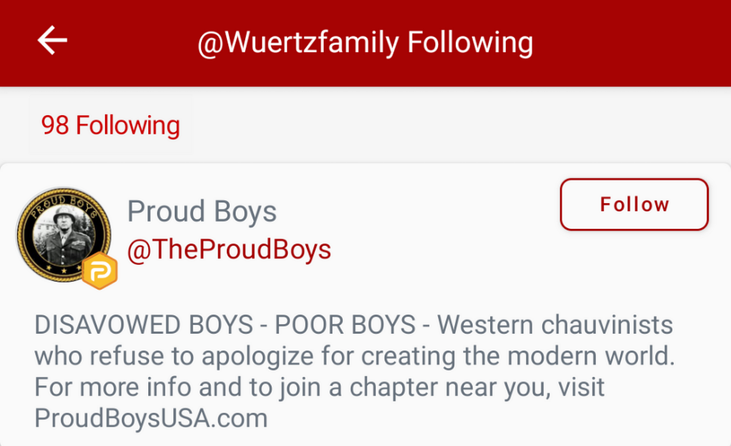 Proof of @WuertzFamily—purportedly Drake Wuertz's wife—following the official Proud Boys account on Parler. (Image: Parler screenshot)
