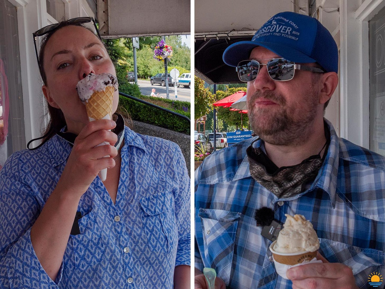 Val and Paul eating gelato.