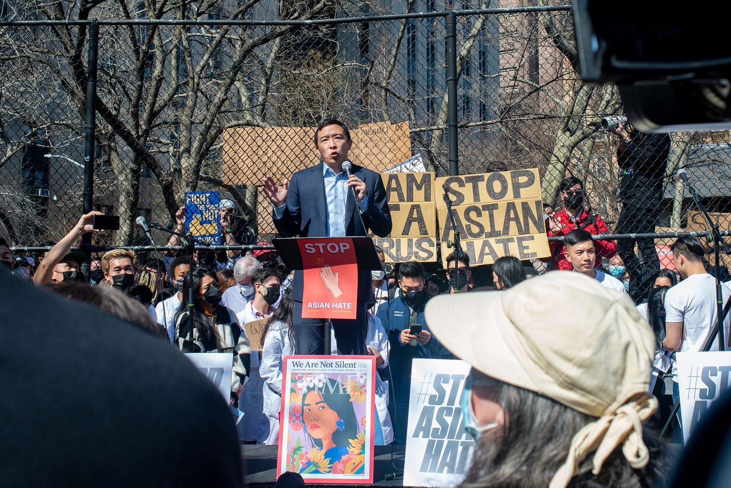"New York City Mayoral candidate Andrew Yang speaks at the ""Rally Against Hate"" in Chinatown on March 21, 2021 in New York City."
