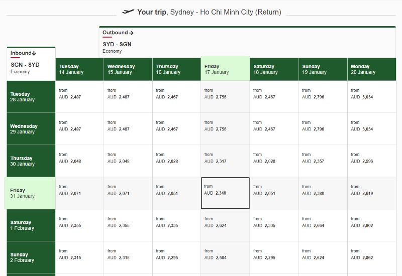 A screenshot of Emirates Australia website.