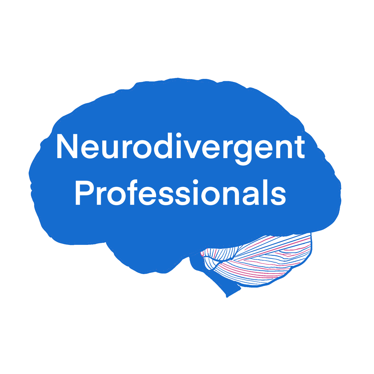 Image of an outline of a brain, coloured in blue with the words 'Neurodivergent professionals' written on it.