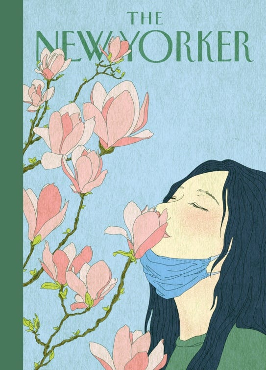 illustration of a girl, with her face mask pulled down to her chin, and her eyes are closed as she enjoyed smelling the pastel pink coloured flowers in front of her.