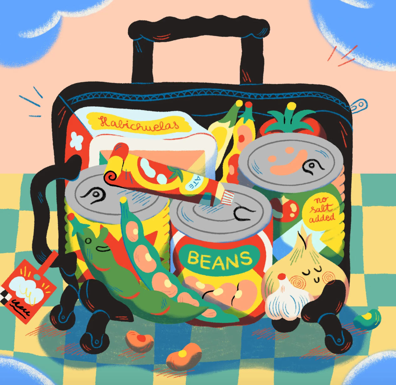 Illustration of open suitcase with cans of beans and other foods.