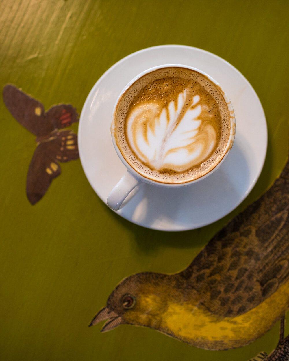 A latte at Amélie's Bakery.
