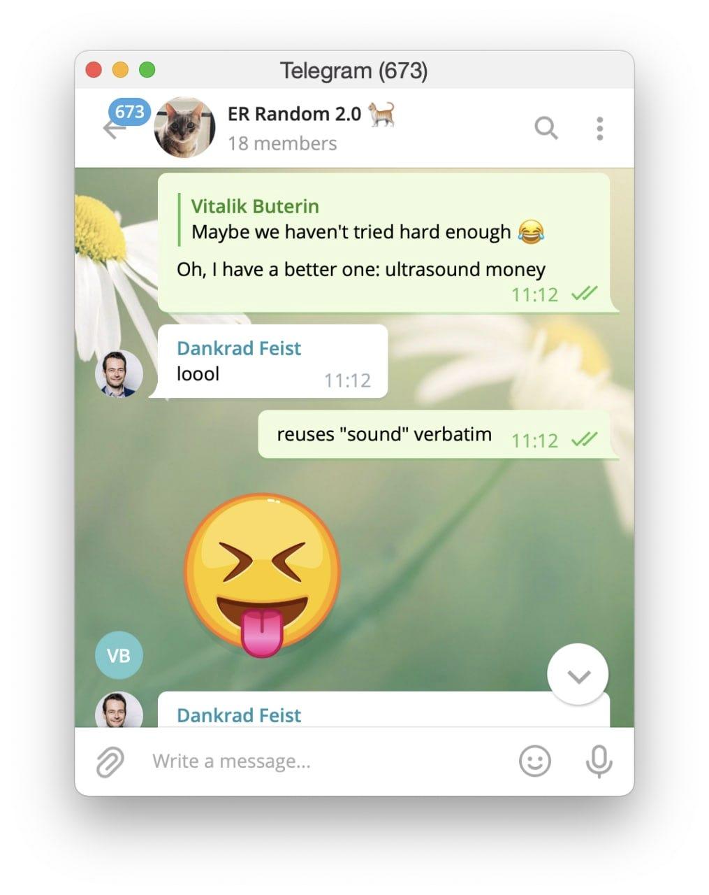 Telegram screenshot shared with permission