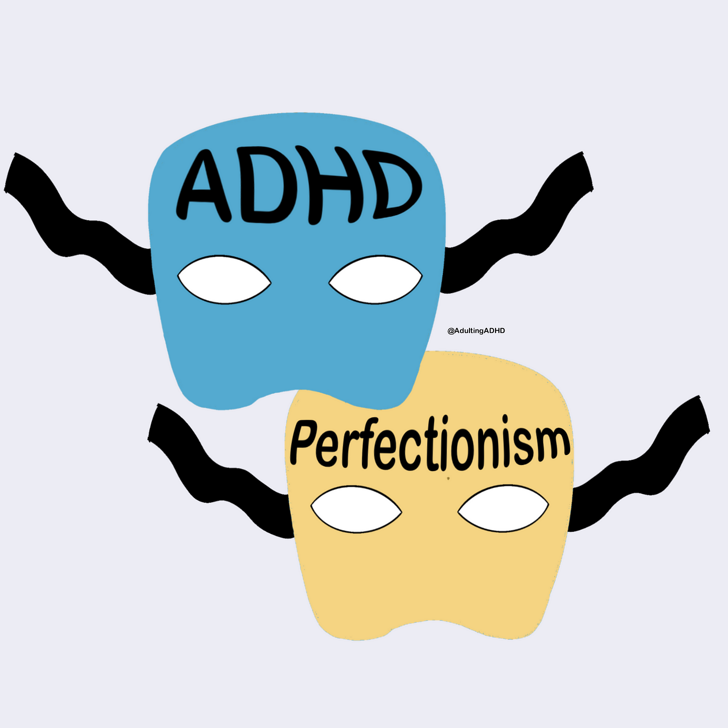 A blue costume mask with the word 'ADHD' written on it and a yellow costume mask with 'perfectionism' written on it.