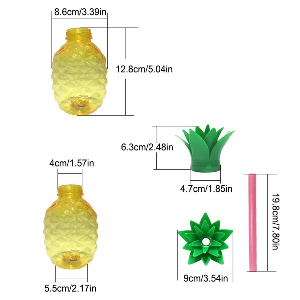 Glowing Pineapple Shape Cup 500ML Juice Milk Bottle With PP Straw Recycled Innovative Beverage Cup For Restaurant Bar Juice Shop