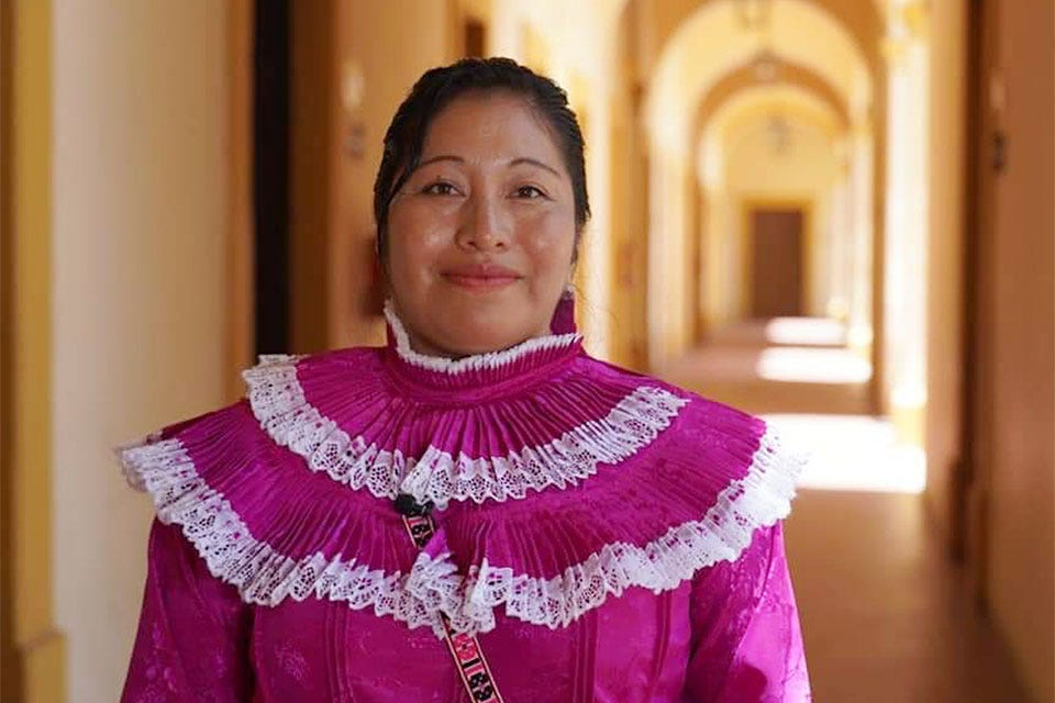 Juana Facundo is a translator of Otomi indigenous language. Photo: UN Women/ Coordination of Extension and Social Action UDG