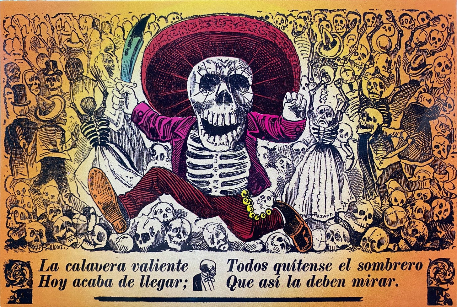 A skeleton wearing a big sombrero, a jacket, charro pants and boots, running towards the viewer with a knife in their right hand. In the background, a crowd of skeletons, either running away or looking at the armed skeleton, with their arms raised.