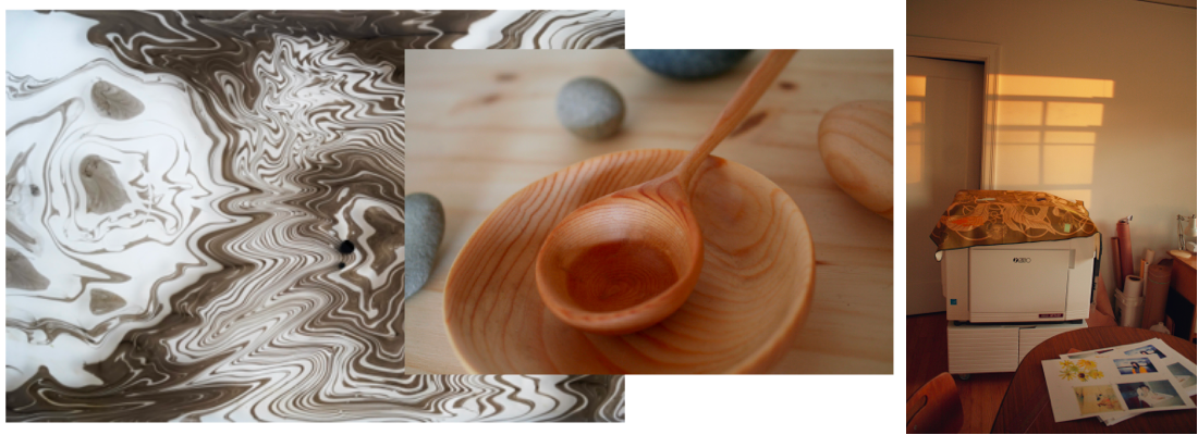 marbling, carved spoon and bowl, risograph machine