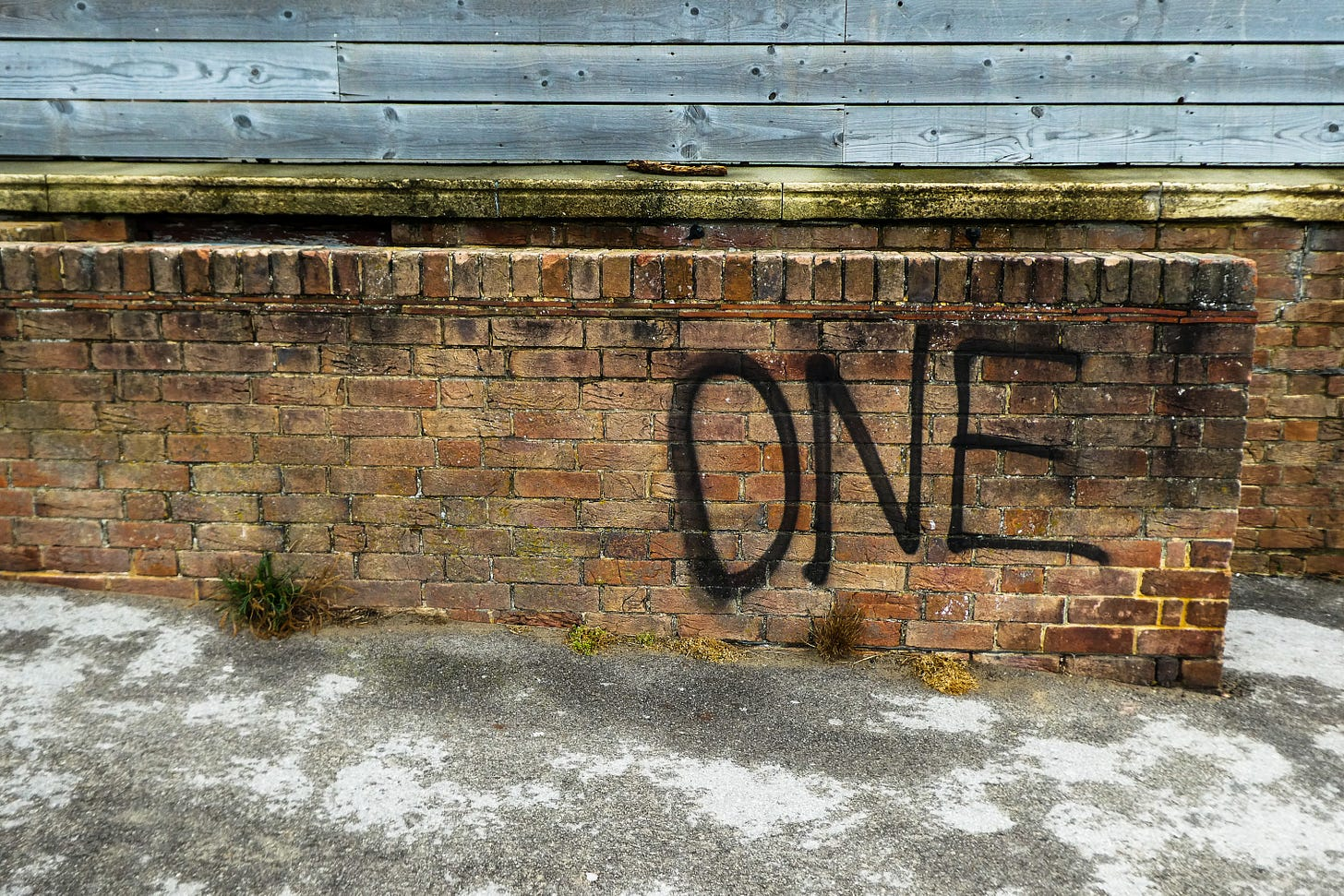 """Brick wall with the word """"one"""" spray painted on it in black"""