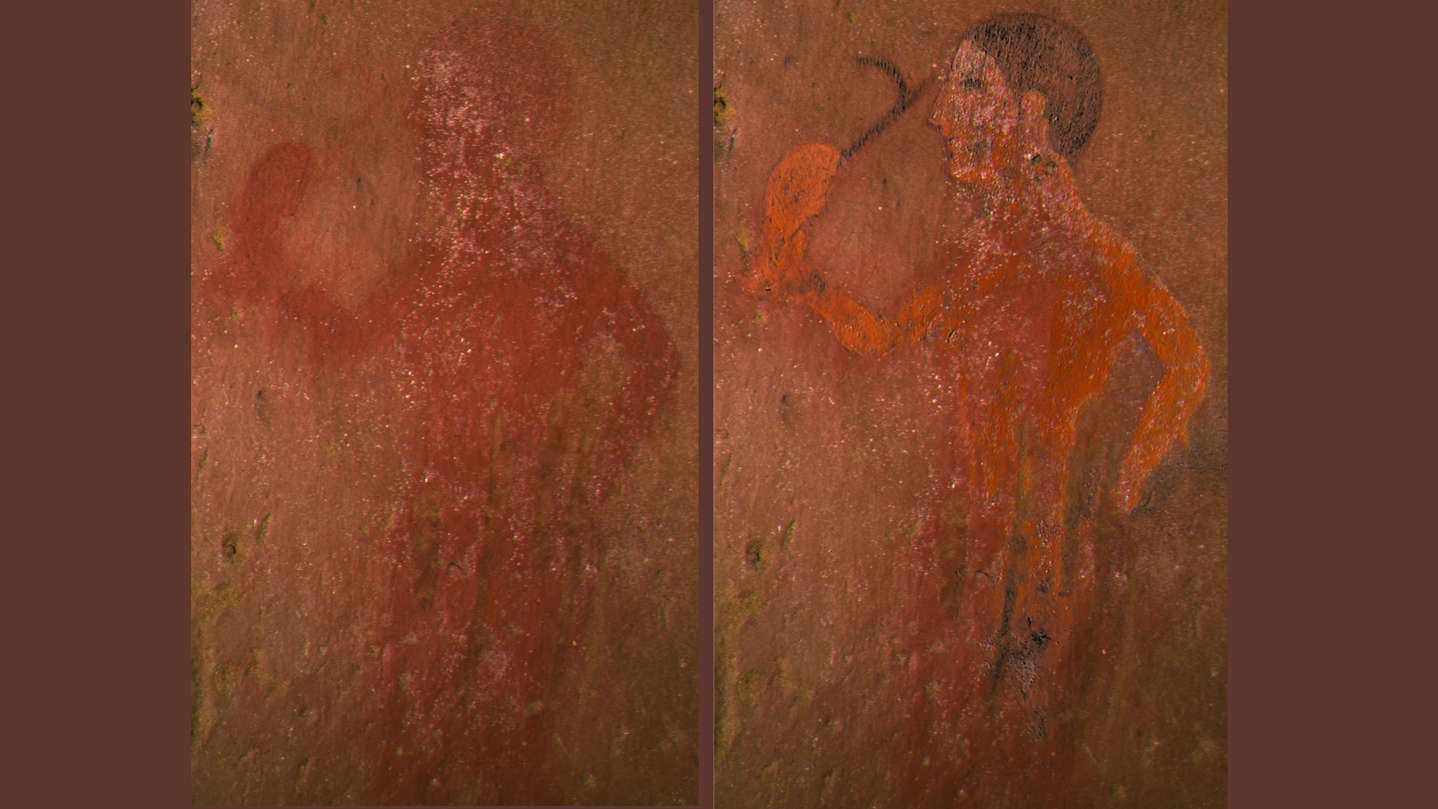 """a close up of a door: Using a new technique to restore this Etruscan painting (left) from the 2,500 year-old """"Tomb of the Monkey,"""" researchers revealed what it really looked like so long ago (right)."""