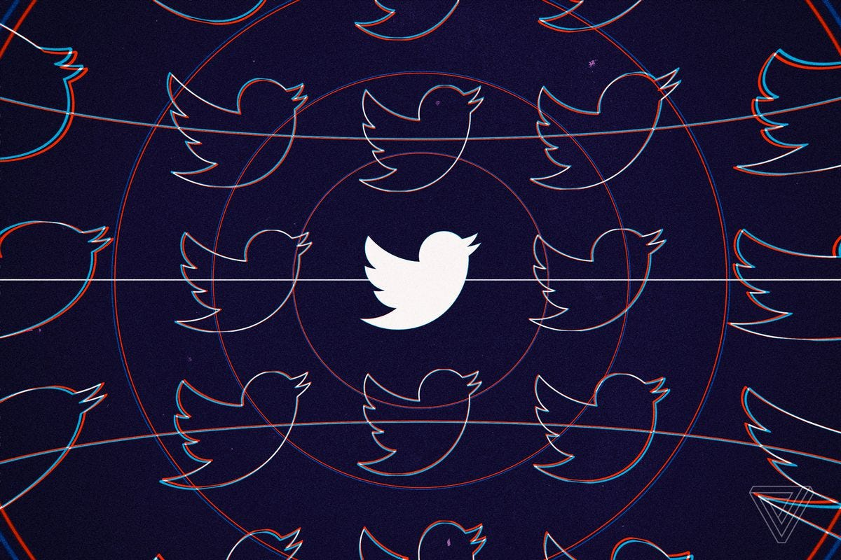 The Twitter bird logo in white against a dark background with outlined logos around it and red circles rippling out from it.