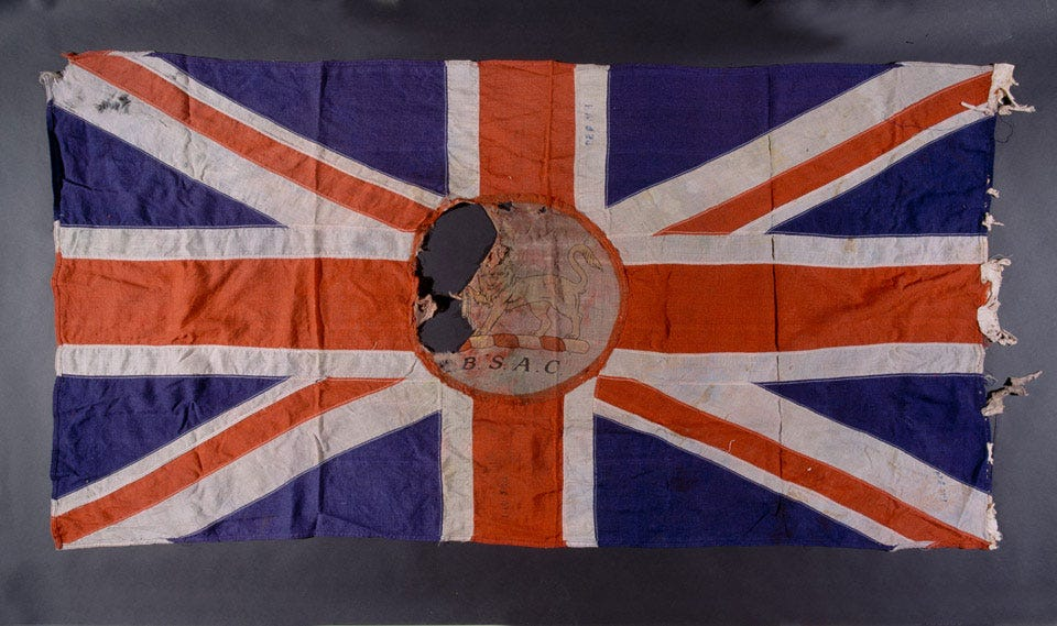 Union Jack flag used by the British South Africa Company, Rhodesia, 1890-1923