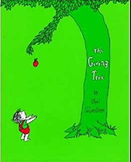 The bright green book cover of The Giving Tree by Shel Silverstein