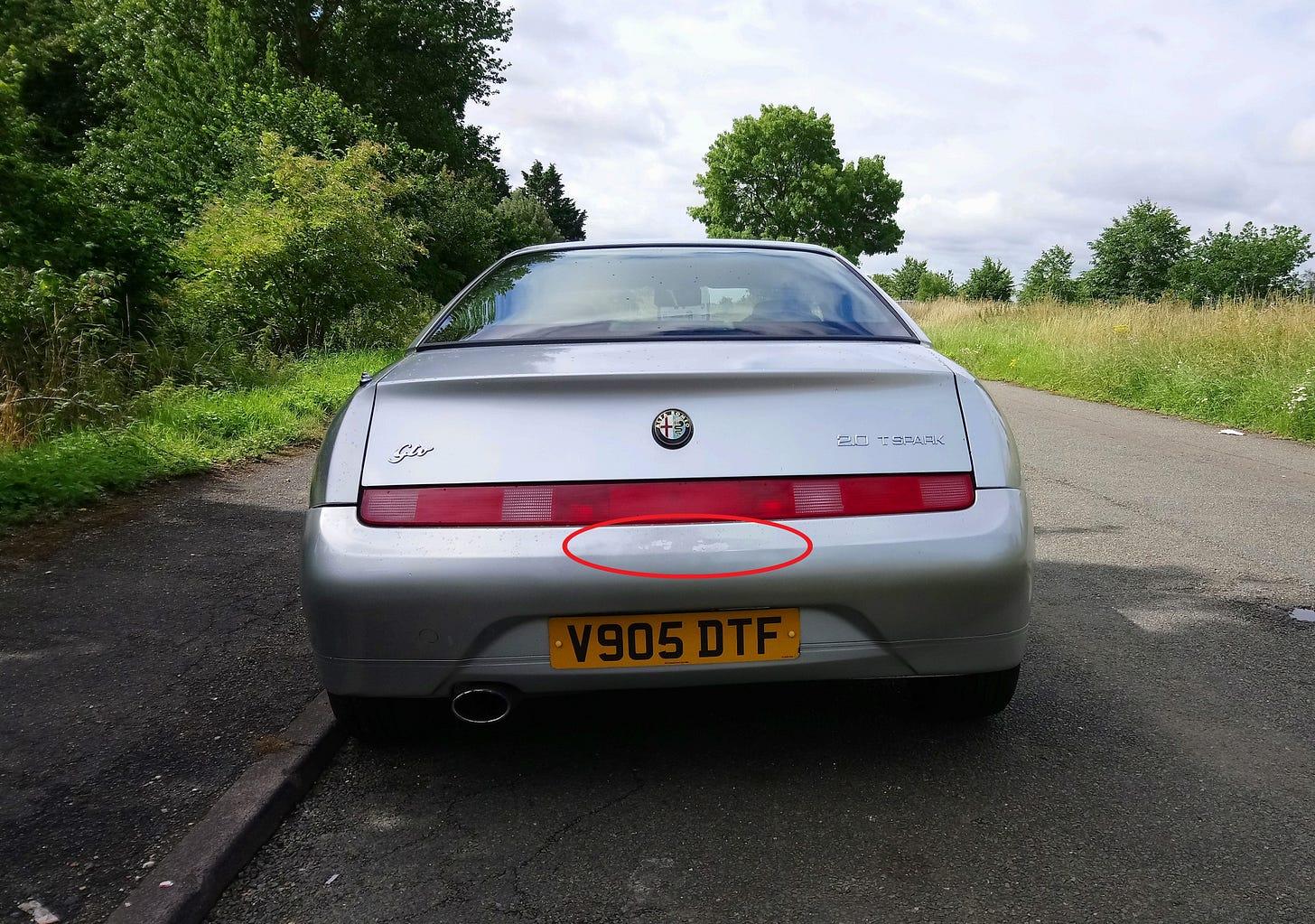 Alf's rear bumper lacquer peel