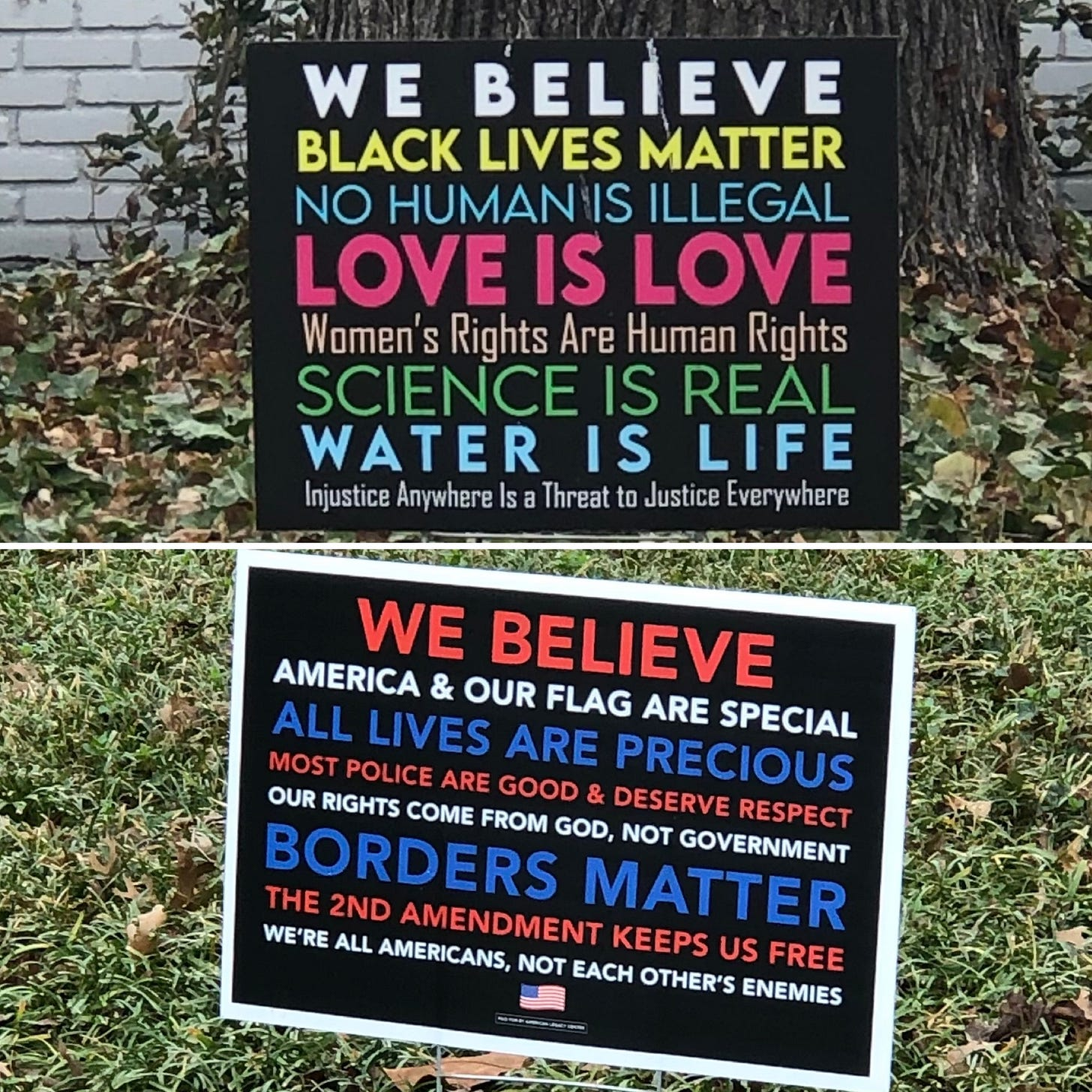 This is a split image with an upper half and a lower half. In the upper half is a yard sign that says WE BELIEVE BLACK LIVES MATTER, NO HUMAN IS ILLEGAL, LOVE IS LOVE, WOMEN'S RIGHTS ARE HUMAN RIGHTS, SCIENCE IS REAL, WATER IS LIFE, INJUSTICE ANYWHERE IS A THREAT TO JUSTICE EVERYWHERE. In the lower half is a yard sign that says WE BELIEVE AMERICA & OUR FLAG ARE SPECIAL, ALL LIVES ARE PRECIOUS, MOST POLICE ARE GOOD & DESERVE RESPECT, OUR RIGHTS COME FROM GOD, NOT GOVERNMENT, BORDERS MATTER, THE 2ND AMENDMENT KEEPS US FREE, WE'RE ALL AMERICANS, NOT EACH OTHER'S ENEMIES