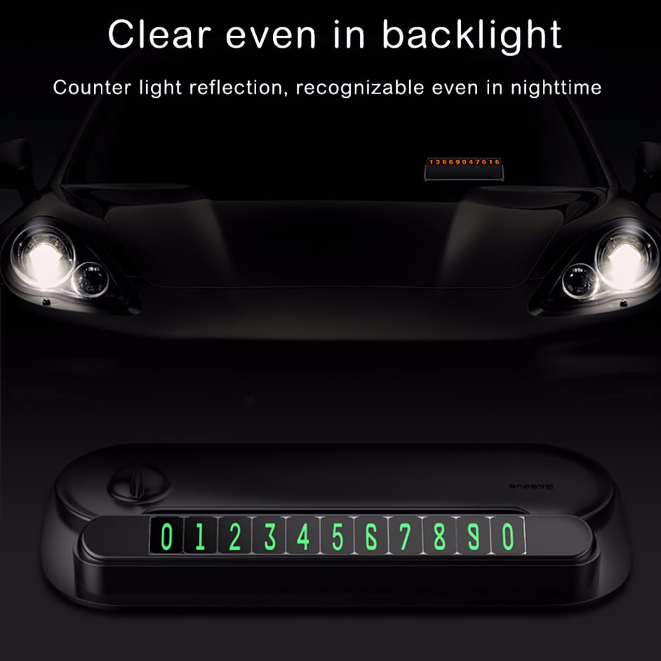 Baseus Temporary Car Packing Card For Car Night Light Phone Number Card Plate Notification Cable Organizer Mobile Phone Stand