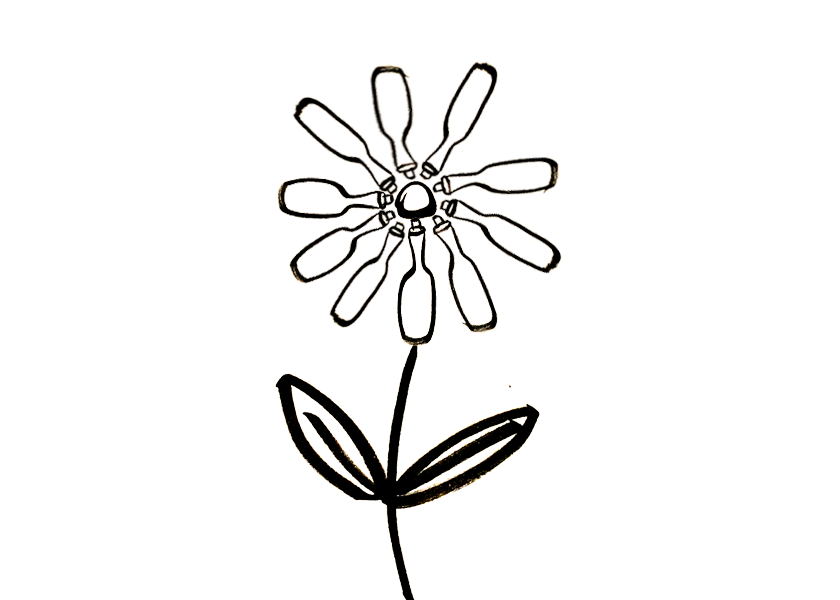 A daisy where the petals are wine bottles