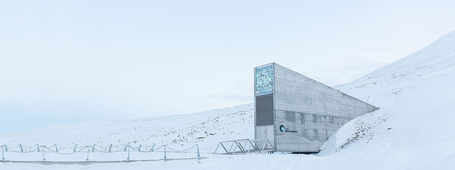 """The entrance to the <a href=""""https://www.croptrust.org/our-work/svalbard-global-seed-vault/"""">Svalbard Global Seed Vault</a>, where a collection of crop diversity is stored"""