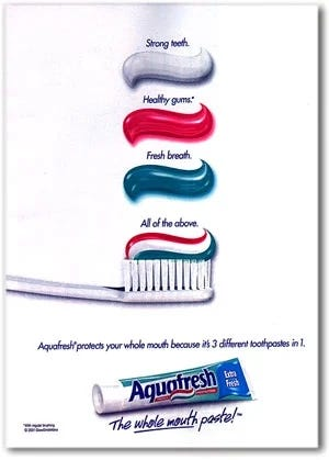 """Image of a toothpaste ad called """"the first-ever advertisement."""""""