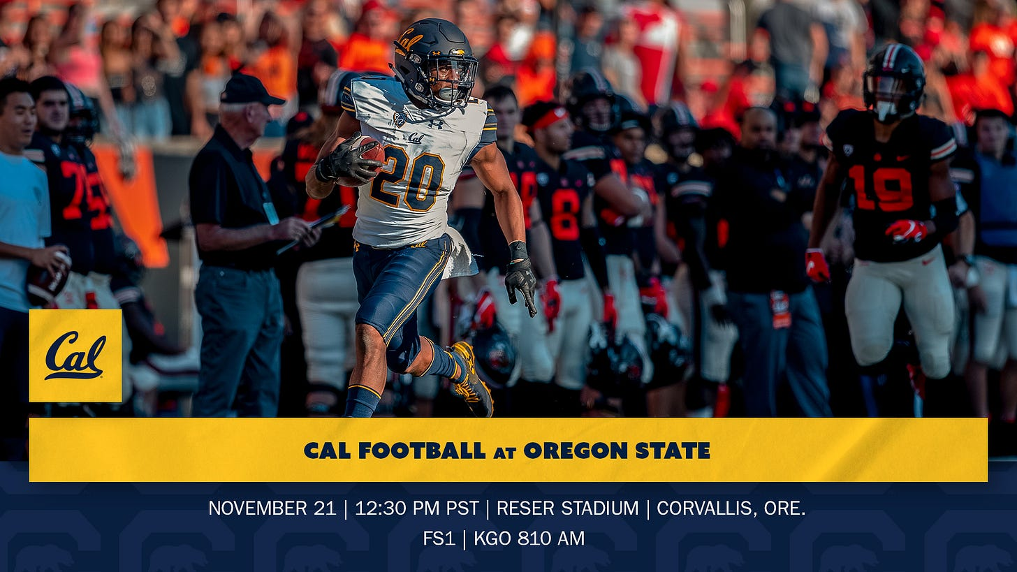 Cal Heads To Corvallis For Matchup With Oregon State