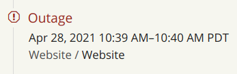 Hacker News' status page showing that there was an outage during the time when my comment was generating the most traffic