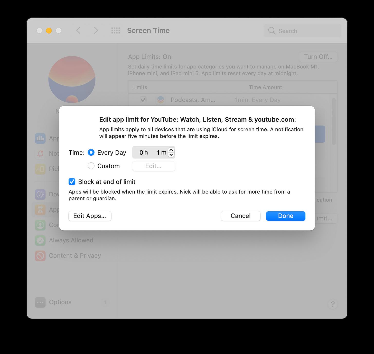 "Configuring ""App Limits"""