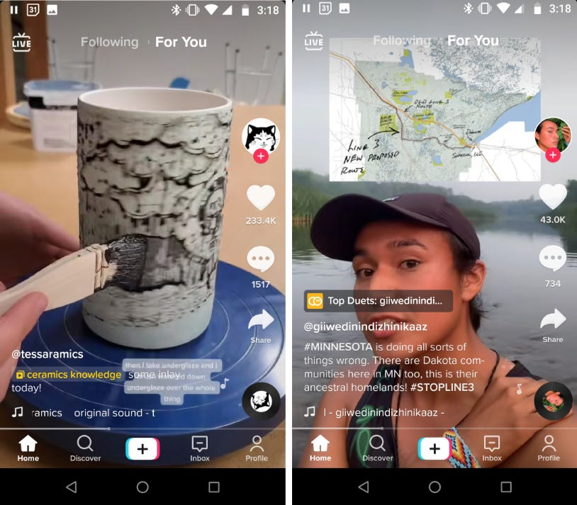 Two TikTok screenshots side-by-side: on the left, a ceramics video, on the right a man in a canoe talking about #STOPLINE3