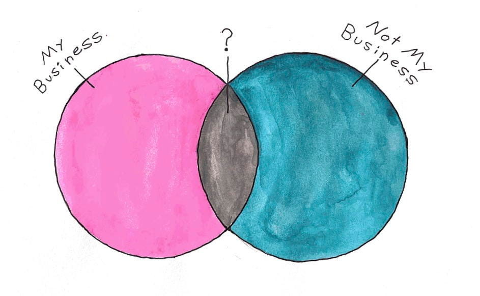 """Venn diagram of a pink circle labeled """"My Business"""" intersecting with a turquoise circle labeled """"Not My Business."""" The intersecting area is gray and labeled with a question mark"""