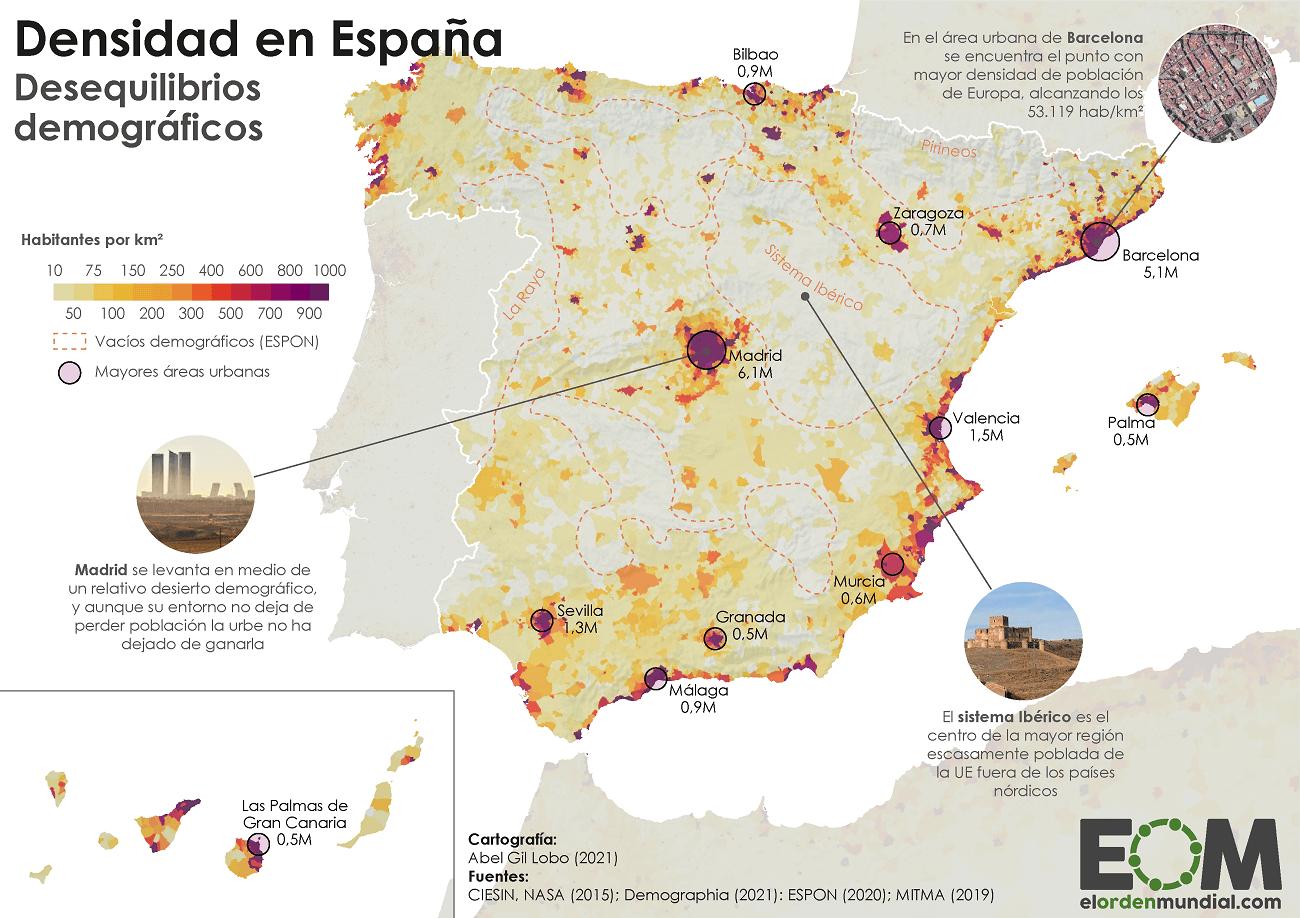 Mapa de la densidad de población en España