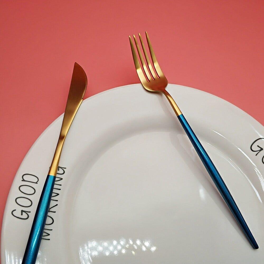 1487680045 Best Hot Sale 4 Pcs Set Blue Gold Color Dinnerware Set 304 Stainless Steel Western Cutlery Kitchen Food Tableware Dinner Set Home Garden Kitchen Dining Bar
