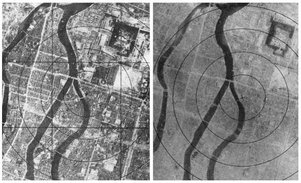 Aerial views of Hiroshima before (left) and after (right) the bombing (Public domain via Wikimedia Commons)