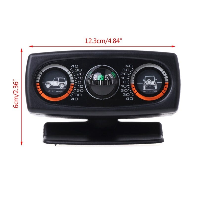 3 In 1 Car Compass Inclinometer Angle Slope Level Meter Finder Gradient Balancer