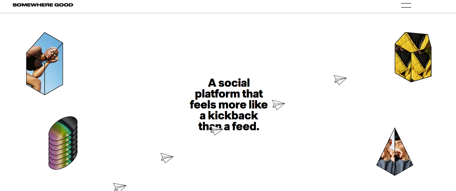 Image description: This is a screen grab from the site Somewhere Good with white open space, paper planes, and small shapes filed with user avatars.