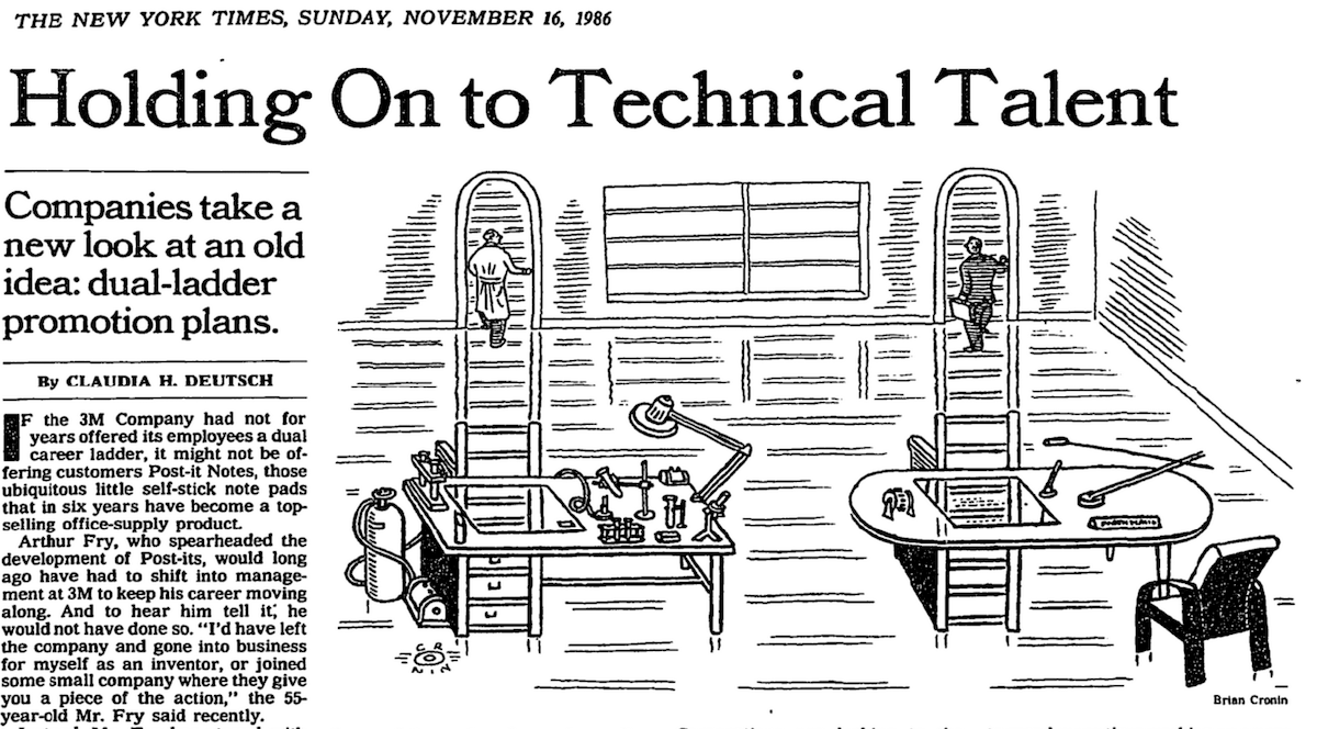 New York Times article from 1986: Holding On to Technical Talent