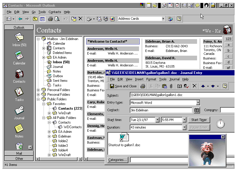 View of the Outlook 97 product showing contacts, mail messages, the Office Assistant and more.
