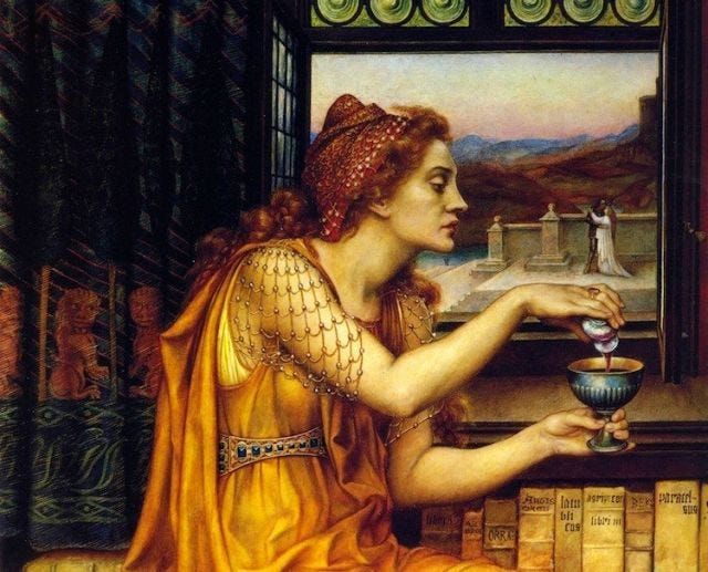painting of a woman in yellow adding poison to a large chalice of wine