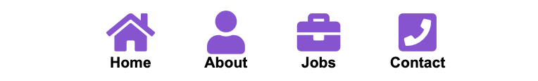 Navbar showing 4 icons for home, about, jobs, and contact, with text neatly centered underneath.