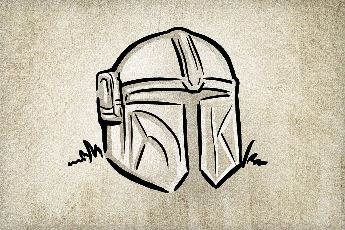 Illustration of Mandalorian helmet