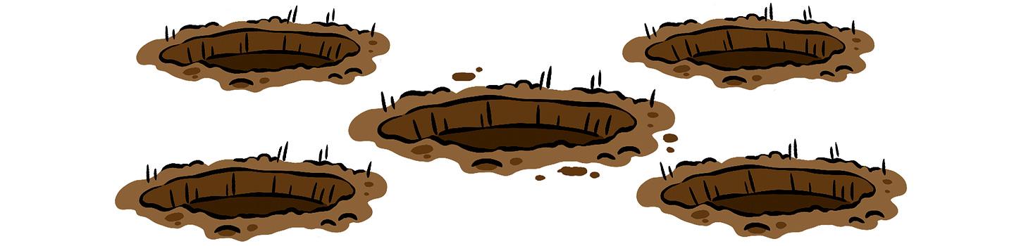Illustration of five dug rabbit holes.
