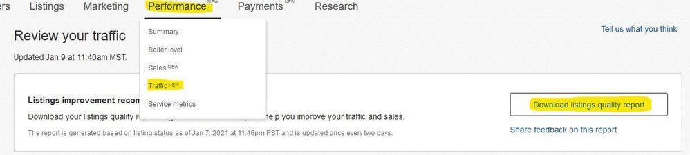 eBay Listing Quality Report Seller Hub