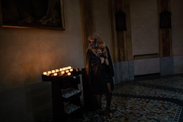 Myss Keta during a music performance at the San Carlo church in Milan.