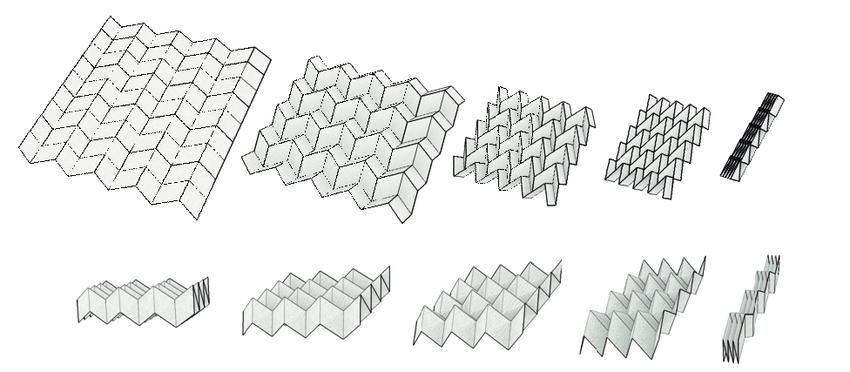 Folding motions of Miura-ori (Top) and eggbox pattern (Bottom ...