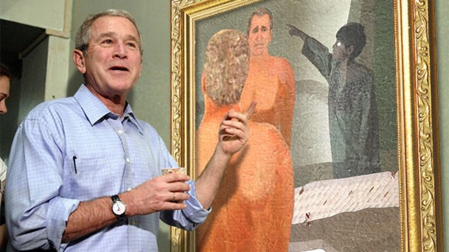 George W. Bush Debuts New Paintings Of Dogs, Friends, Ghost Of Iraqi Child  That Follows Him Everywhere
